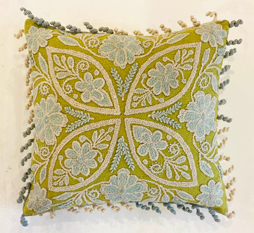 Woolen Hand Woven and Crewel Embroidered Pillow french knot chartreuse robins egg blue off-white