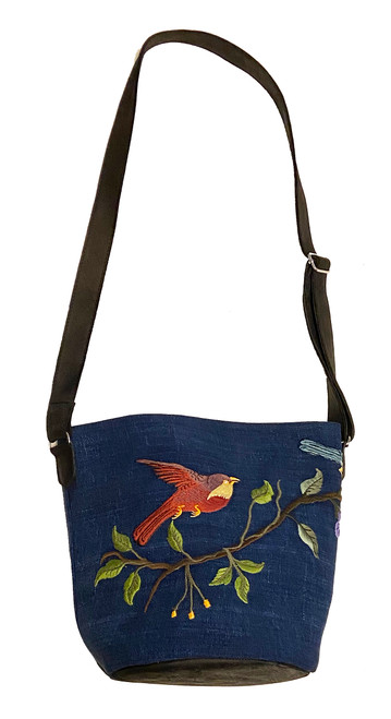 Handwoven Embroidered Charcoal Indigo Blue Bird and Leather Bucket Bag Guatemala