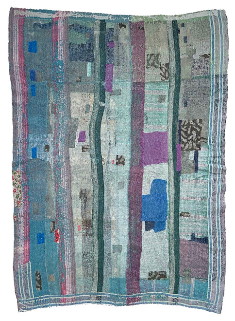 Kantha Quilt Hand Stitched Vintage Sari India turquoise teal