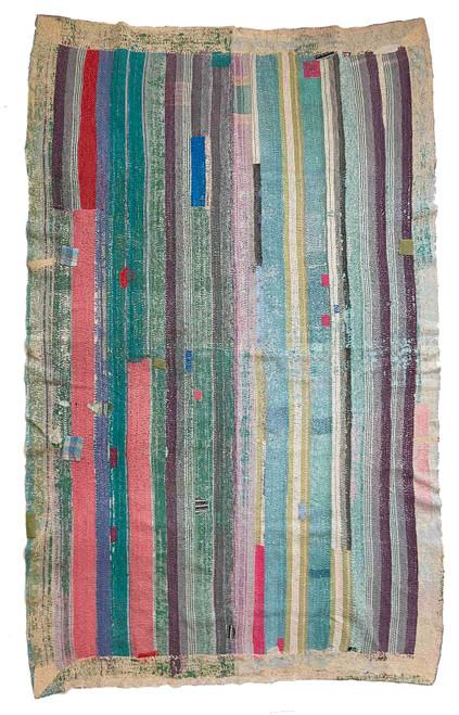 Kantha Quilt Hand Stitched Vintage Sari  India patchwork