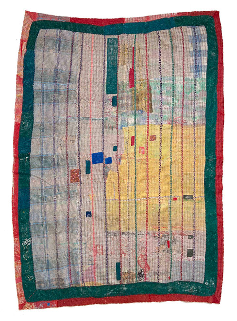Kantha Quilt Hand Stitched Vintage Sari  India patchwork Yellow