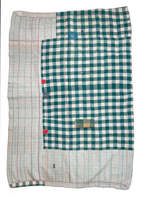 Kantha Quilt Hand Stitched Vintage Sari  India patchwork Check