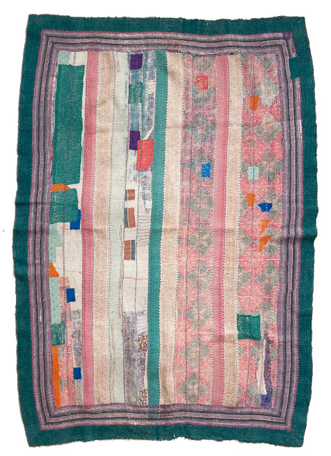 Kantha Quilt Hand Stitched Vintage Sari  India patchwork colorful