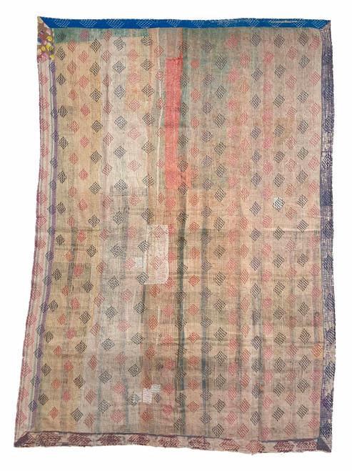 Kantha Quilt Hand Stitched Vintage Sari India creamy
