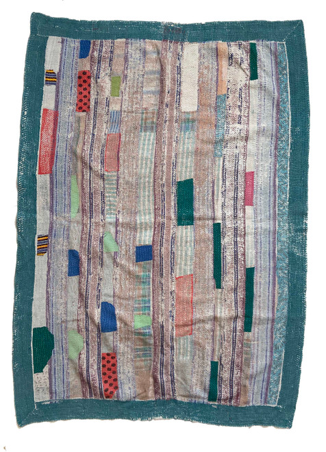 Kantha Quilt Hand Stitched Vintage Sari India teal puce brick