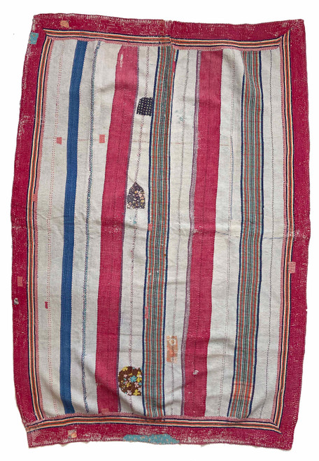 Kantha Quilt Hand Stitched Vintage Sari India red, blue grey cream