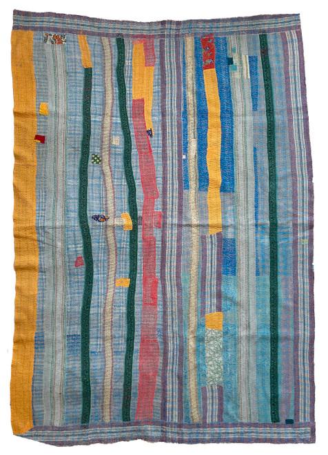 Kantha Quilt Hand Stitched Vintage Sari India blue gold