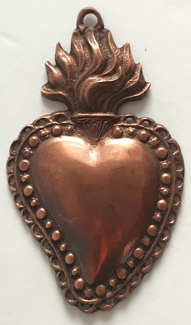 Heavy-weight cast copper heart from India