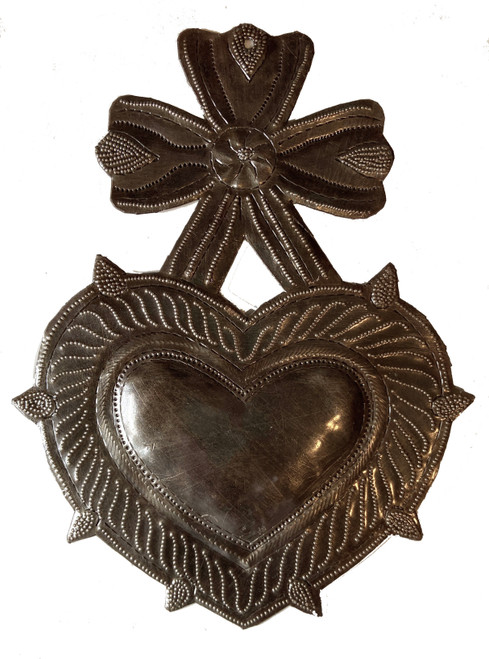 Handmade Heart with Bow Wall Plaque Hammered Recycled Steel Drum Haiti