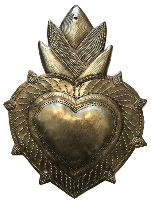 "Handmade Hammered Heart with Corn Design Recycled Steel Haiti (7"" x 9"")"