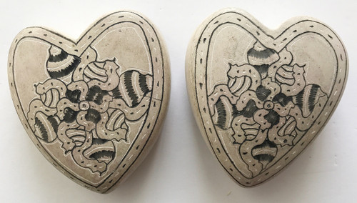 Hand Carved and Etched Two Stone Hearts from Haiti