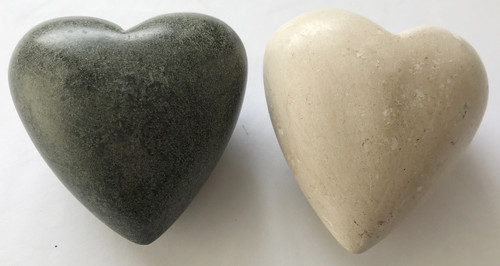 Hand Carved Two Stone Hearts from Haiti