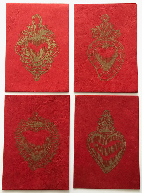 Handmade Paper Notecard with Printed Milagro Heart Nepal