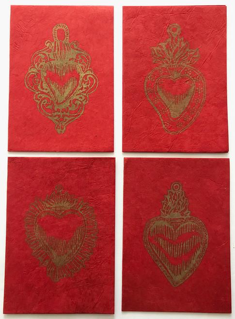 Handmade Paper Notecard with Printed Milagro Heart Nepal