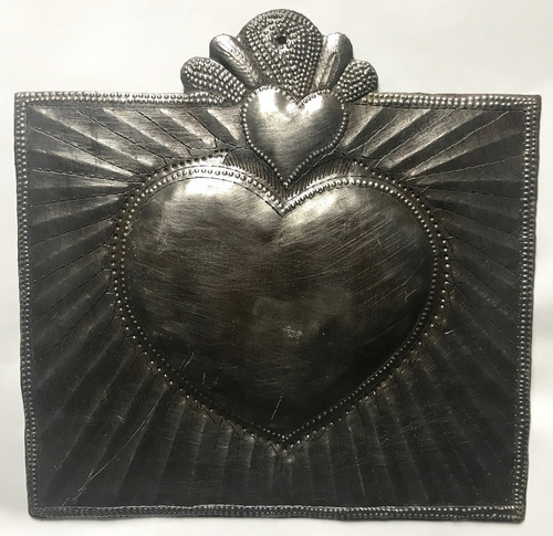 Handmade Hammered Heart Wall Plaque 2 Recycled Steel Haiti
