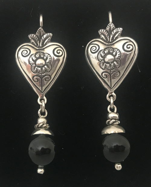 Handmade Silver  and Onyx Earrings Peru