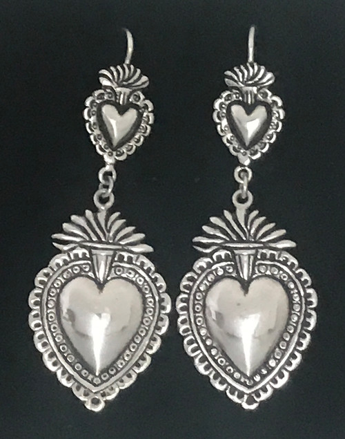 Handmade Silver Heart Earrings Peru