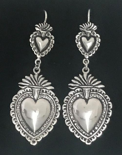 Handmade Silver Heart Earrings Peru