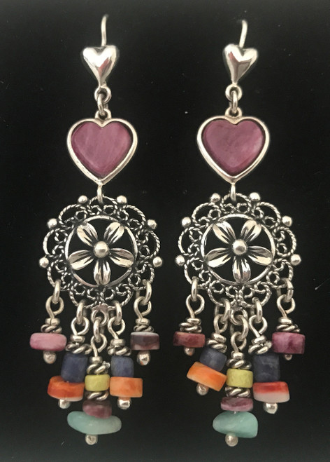 Handmade Silver and Stones and Shell Earrings Peru
