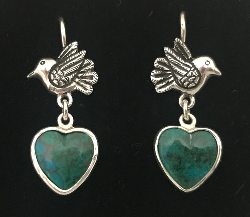 Handmade Silver Peruvian Turquoise Earrings Peru
