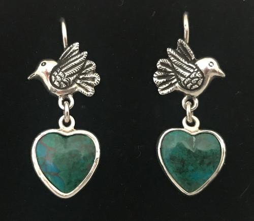Handmade Silver Peruvian Turquoise Earrings Peru