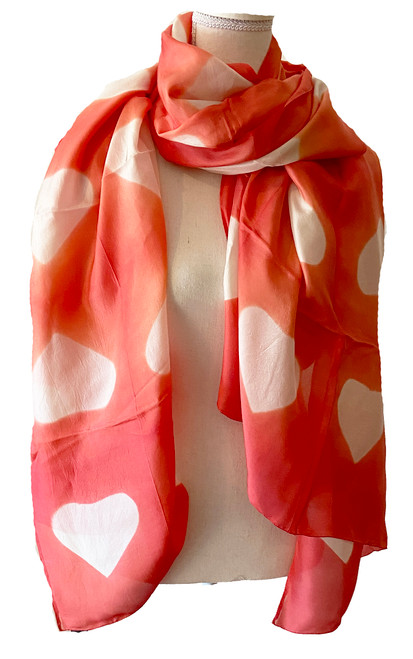 Shibori  Silk Heart Scarf/Shawl Salmon Pink India