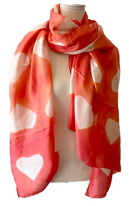 Shibori  Silk Heart Scarf/Shawl Salmon Pink India