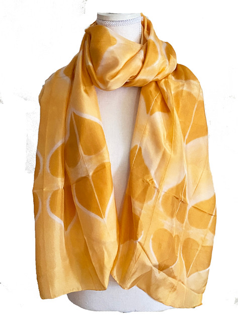 Shibori  Silk Heart Scarf/Shawl Golden India Clamp dyed