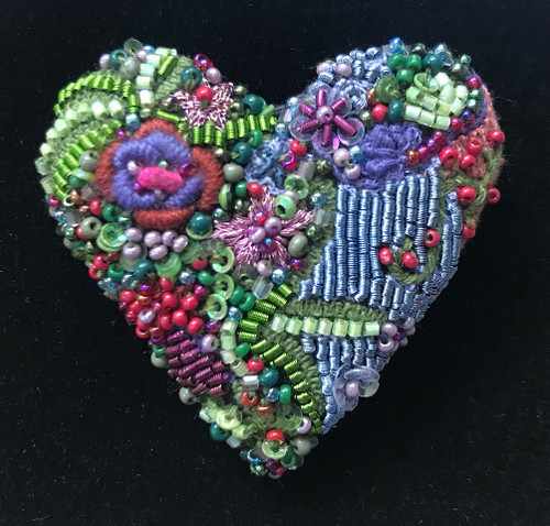 Handmade Embroidered and Beaded Blooming Heart Brooch India