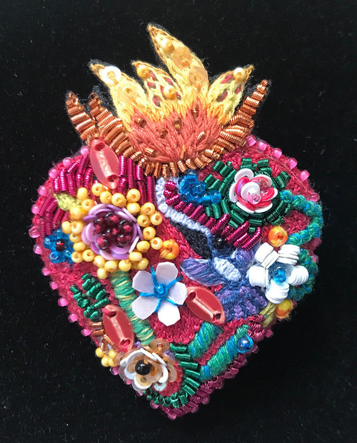 Handmade Embroidered and Beaded Flaming Heart Brooch India