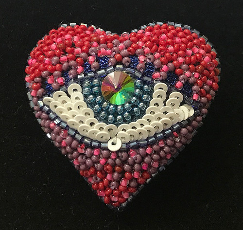 Handmade Embroidered and Beaded Eye Heart Brooch India