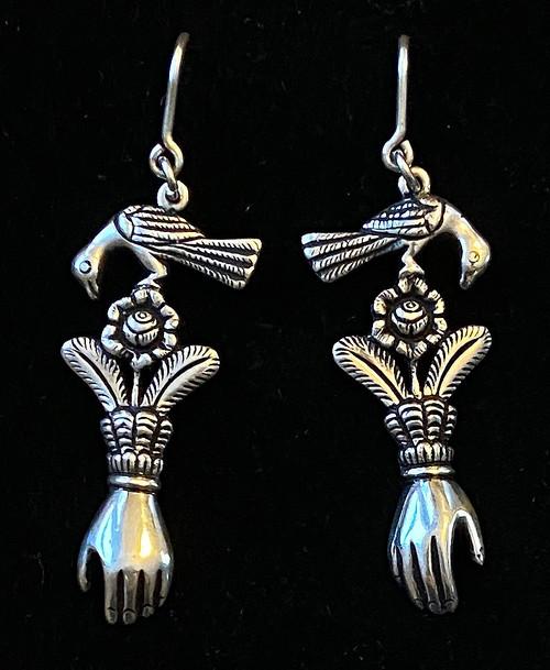 Handmade Silver Earrings Peru bird hand flower