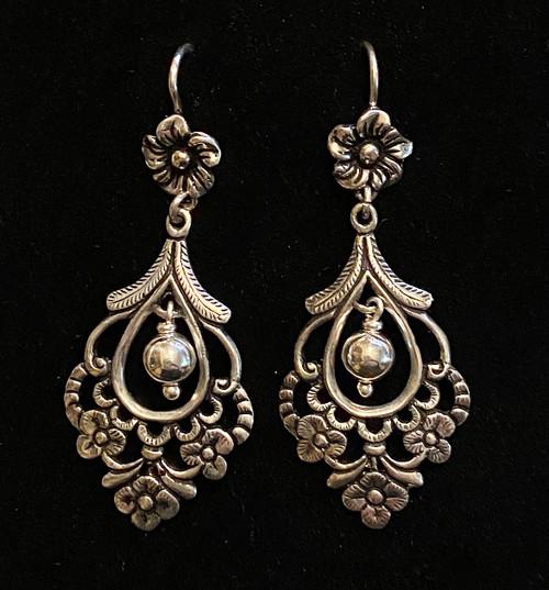 Handmade Silver Floral Earrings Peru