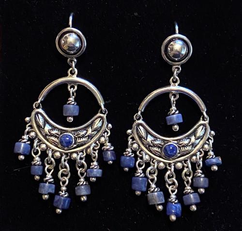 Handmade Silver and Sodalite Blue Stone Earrings Peru