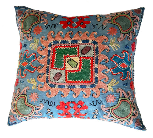 Hand Embroidered Silk Pillow Sky Blue Uzbekistan Prussian Blue, Brick, Wheat