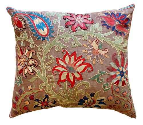 Hand Embroidered Silk Pillow Taupe  Uzbekistan brick blue cream red green