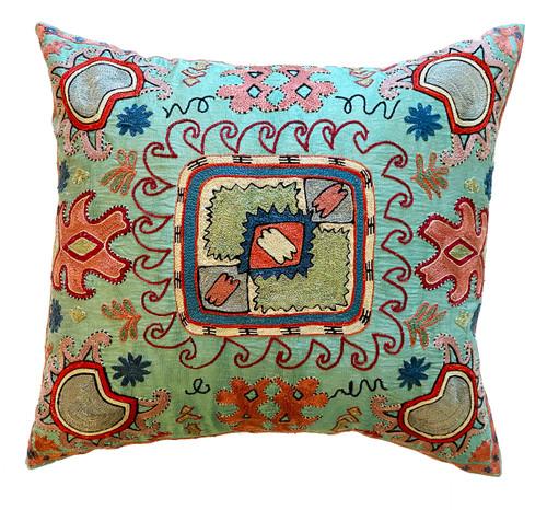 Hand Embroidered Silk Pillow Sea Foam Uzbekistan muted brick blue cream red blue grey black