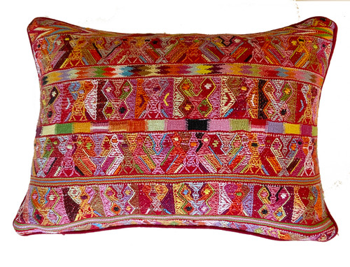 Handwoven Maya San Juan Cotzal Pillow Guatemala Red pink orange yellow lavender lime green