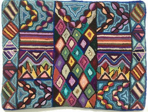 "Handmade Hooked Small Rug Recycled Clothing by Irma Guatemala 24""x 32"" colorful"