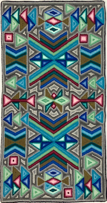 "Handmade Hooked Small Rug Recycled Clothing by Lidia Guatemala 24""x 48"" geometic green"