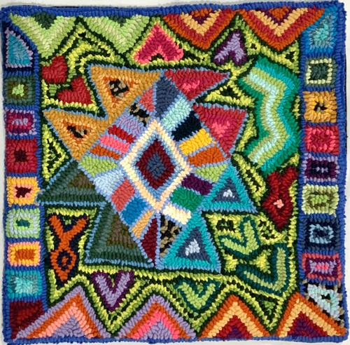 "Handmade Hooked Pillow Cover by Glendy Guatemala (16"" x 16"") recycled fabrics birds geometric"