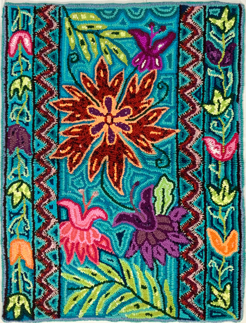 "Handmade Hooked Small Rug Recycled Clothing by Nicolasa Guatemala 24""x 32"" Flower Butterfly"