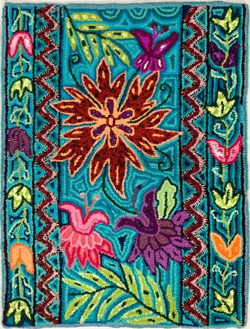 "Handmade Hooked Medium Rug Recycled Clothing by Nicolasa Guatemala 24""x 32"" Flower Butterfly"