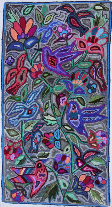 "Handmade Hooked Small Rug Recycled Clothing by Juana Guatemala 24""x 48"" Birds Flowers"