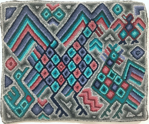 "Handmade Hooked Small Rug Recycled Clothing by Micaela Guatemala 18""x 22"" geometric birds"