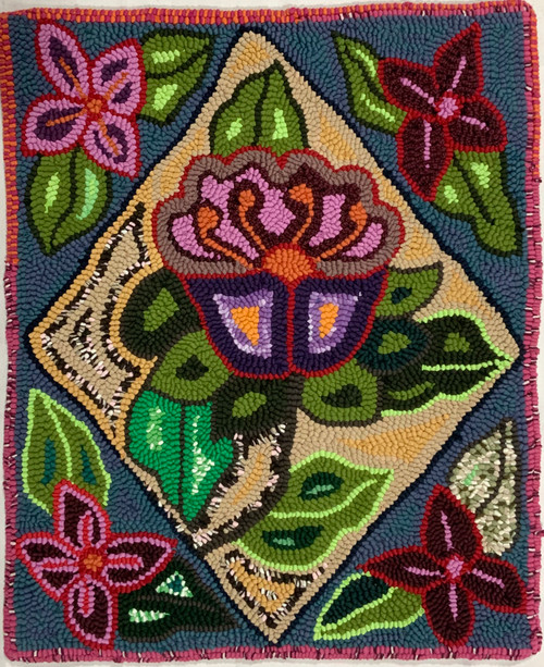 "Handmade Hooked Small Rug Recycled Clothing by Silvia Guatemala 18""x 22"" Flowers"