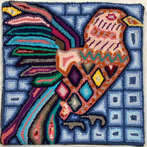 """Handmade Hooked Pillow Cover by Bartola Guatemala (16"""" x 16"""") recycled fabrics birds"""