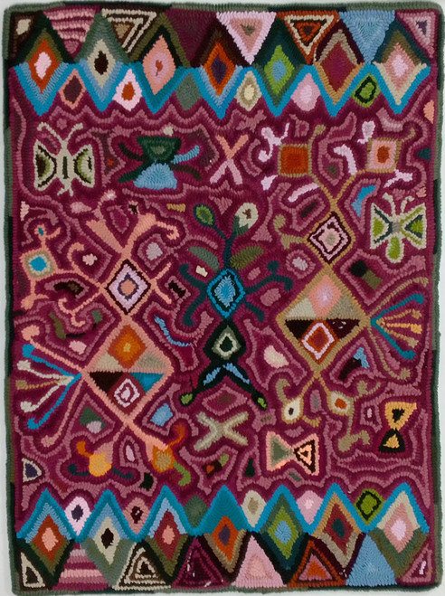 "Handmade Hooked Small Rug Recycled Clothing by Rosario Guatemala 24""x 32"" Flower Burgundy"