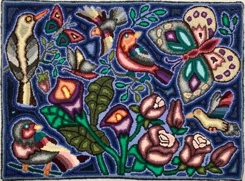 "Handmade Hooked Small Rug Recycled Clothing by Irma Guatemala 24""x 32"" Birds Butterfly Flower"