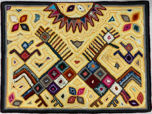 "Handmade Hooked Small Rug Recycled Clothing by Ramona Guatemala 24""x 32"" Maya Figure"